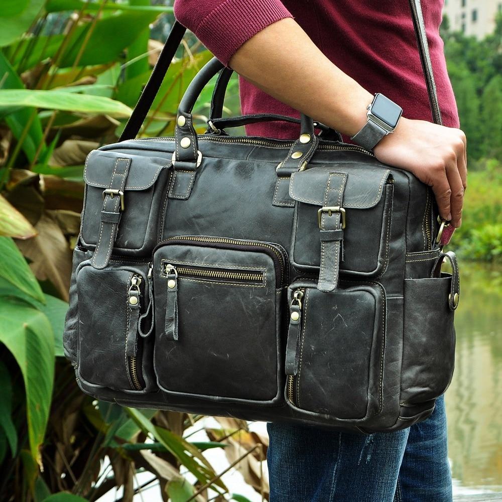 "Фотография Original Leather Antique Large Capacity Men Briefcase Business 15.6"" Computer Laptop Case Attache Messenger Bag Portfolio 3061g"