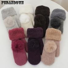 2018 New Fashion Winter Fingerless Gloves Mittens For Women Fur Pom Poms Warm Wool Glove