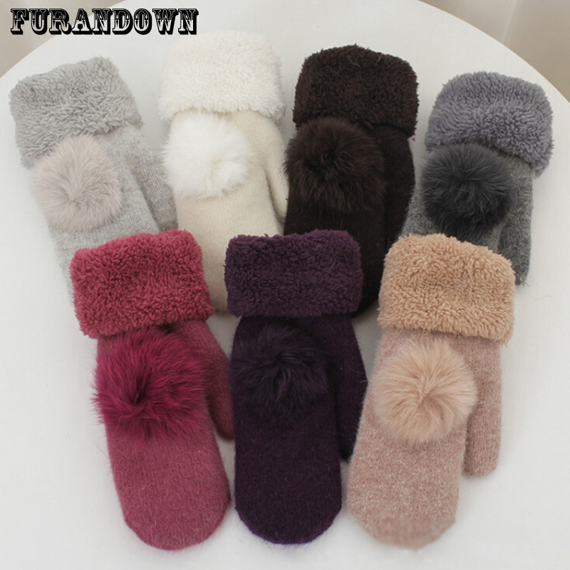 2019 New Fashion Winter Fingerless Gloves Mittens For Women Real Fur Pompom Warm Wool Gloves