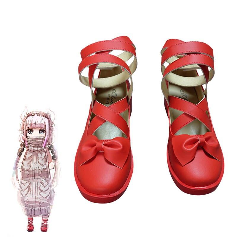Coshome Kobayashi-san Chi No Maid Dragon Maid Kamui Kanna Cosplay Costume Shoes Red Pink Boots Women Lolita Shoes
