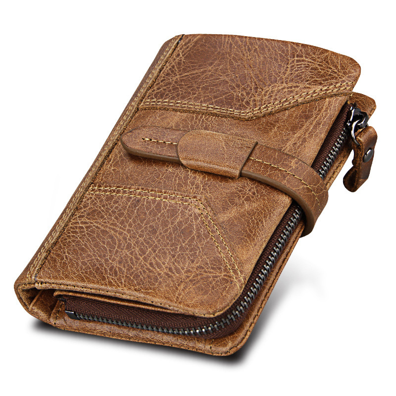 Fashion Business Men's Wallet RFID Genuine Cow Leather Wallets and Purse Men Male Vintage Coins Bag Pocket Carteira Masculina brand double zipper genuine leather men wallets with phone bag vintage long clutch male purses large capacity new men s wallets
