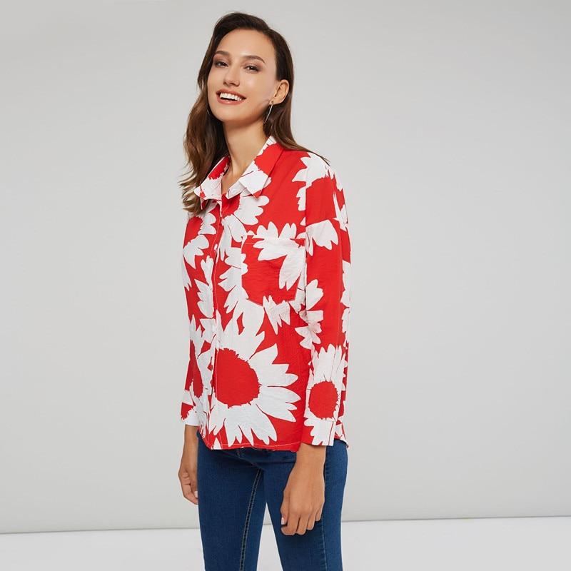 Coreana Mujeres Las Plus Impresión 4xl Tamaño Primavera Sexy Blusa 2019 Ropa Moda Casual Tops Camisa De RaqaBx