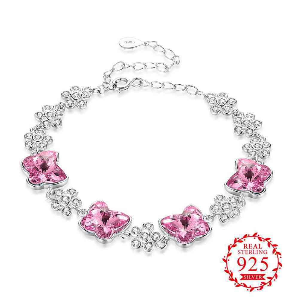 JEMMIN Pink/Blue 925 Sterling Silver Austrian Crystal Bracelet Romantic Gift For Mother/Lover/Girlfriend Top Quality TrendyJEMMIN Pink/Blue 925 Sterling Silver Austrian Crystal Bracelet Romantic Gift For Mother/Lover/Girlfriend Top Quality Trendy