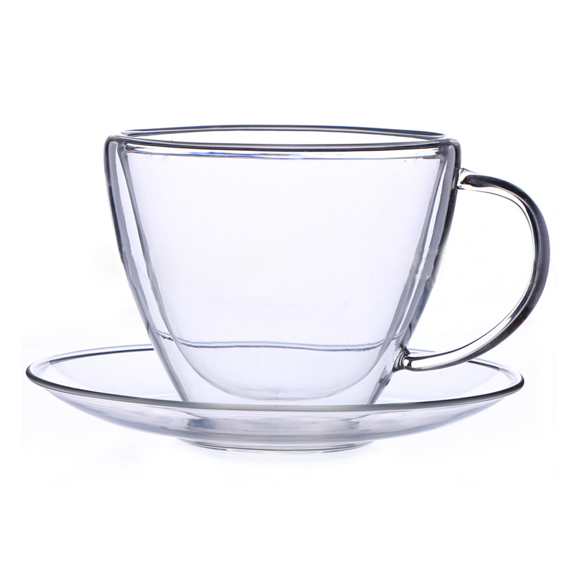 Heat resistant double coffee cup and saucer set Simple ...