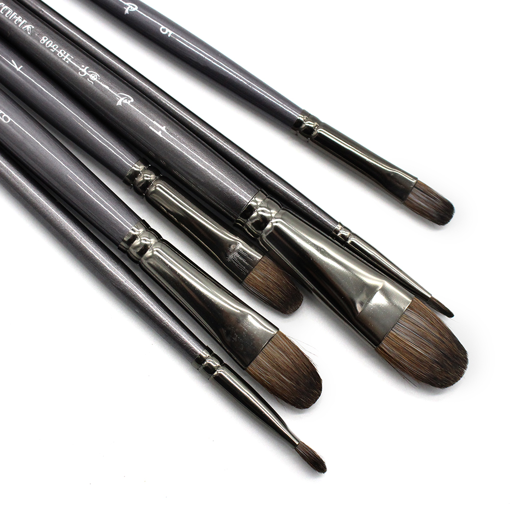 6 Pcs/Set Professional High Quality Tool Squirrel Hair Oil Painting Brush Drawing Brush Filbert Pen For Acrylic Painting Art
