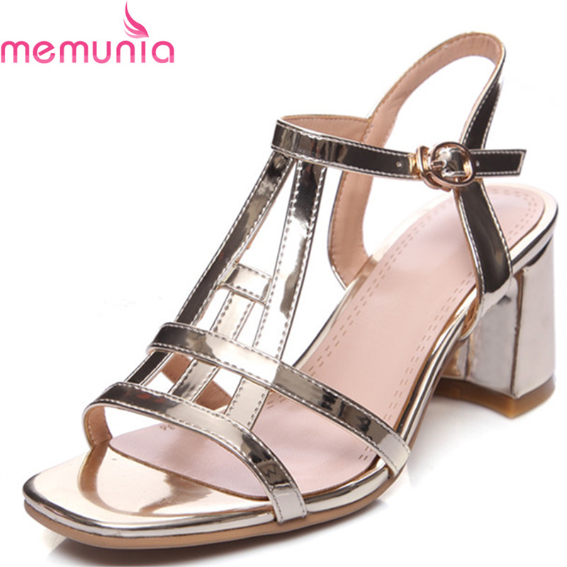 MEMUNIA popular hot sale heels shoes in summer women shoes sandals sexy lady PU solid buckle platform shoes fashion anmairon shallow leisure striped sandals women flats shoes new big size34 43 pu free shipping fashion hot sale platform sandals
