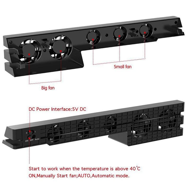 Ps4 pro cooler fan super turbo controle de temperatura com cabo usb para sony playstation 4 ps4 pro console suporte vertical