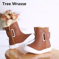 Tree Wrasse Kids Winter Snow Boots Children Retro Style Add Plush Warm Flat Cotton Shoes Boys