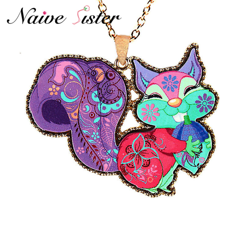 Cute Colorful Squirrel Pendant Necklaces For Women Girl Ladies Long Sweater Statement Necklace Fashion Christmas Gift sautoir