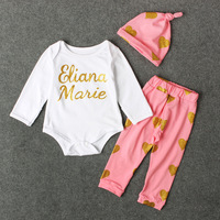 Fashion Baby Set Cotton Infant Outfits Sequin Letter Printed Romper Pants Sets Baby Girls Clothing