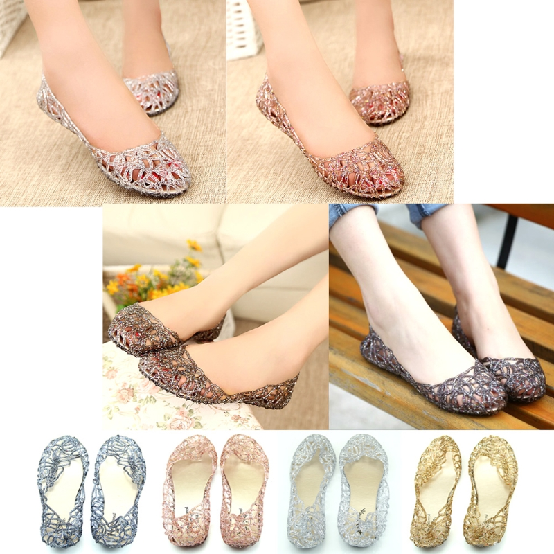THINKTHENDO Ventilate Crystal Jelly Hollow Out Birds Nest Flat Sandal New Summer Beach Shoes lcx 2017 summer pvc hollow out sandals glitter flat stock the bird nest hole wholesale or retail