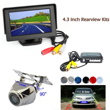 Car Parking Sensor Reverse Backup Assistance Car HD Visual Reversing Radar image System + Auto Rearview Camera Mirror Monitor