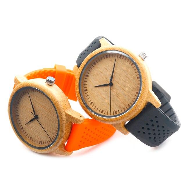 BOBO BIRD Мужчины Дизайн Бамбука Древесины Кварцевые Часы Японского Движения Внутри С Мягкий Силиконовый Ремешок Женские часы Для Подарка