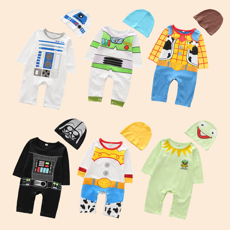 Infant Boy Long Sleeve Rompers O-neck Cotton Anime Sleepwear Jumpsuit Overalls 6-18 Month Unisex Baby Onesie Romper and Hat Set
