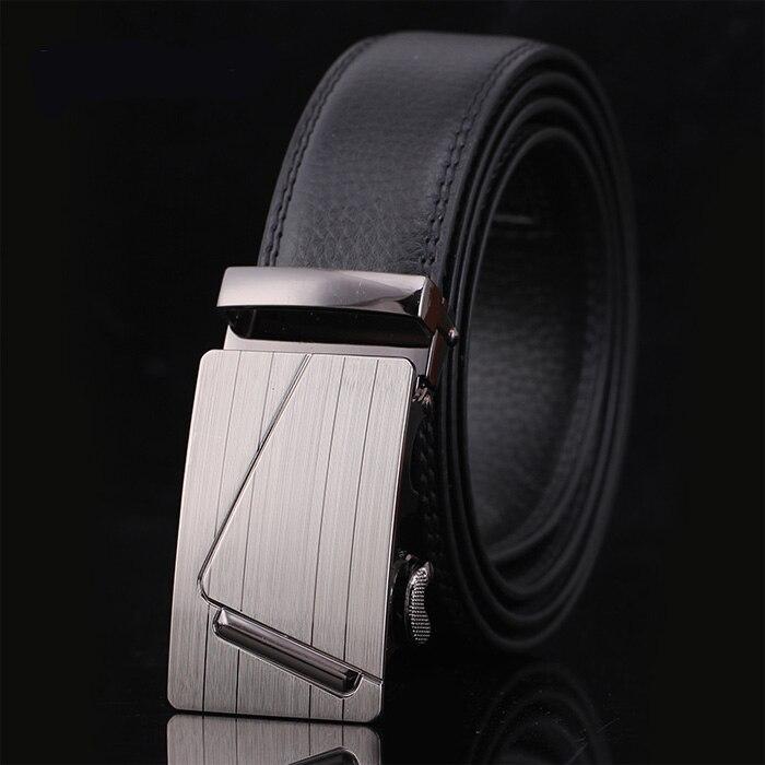 New Genuine Leather   Belt   Men 35mm Wide Luxury Automatic Buckle Ratchet Dress   Belt   for Man Black ceinture homme