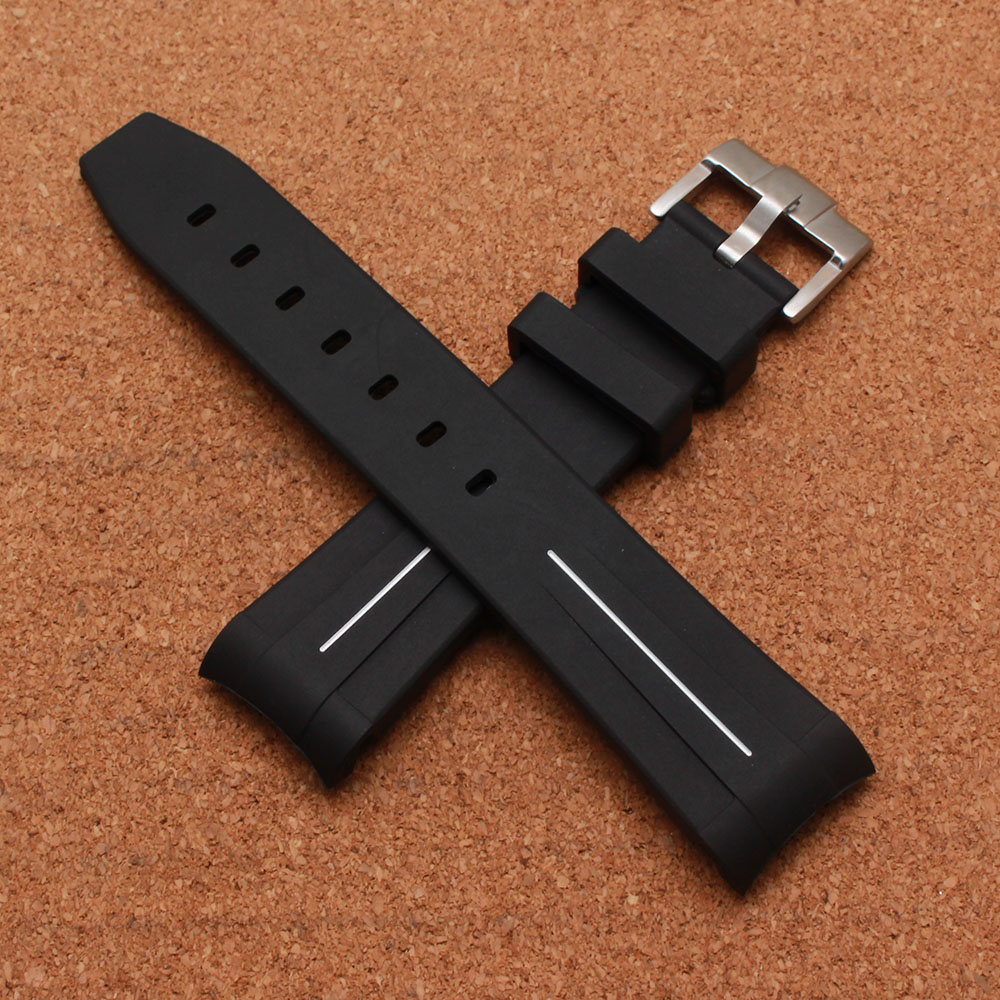 20mm Watchbands Strap Mens Black Rubber Diving Watch Band Belt Waterproof Silicone Watch Strap Accessories with pin buckle clasp 20mm silicone rubber watchbands men women sport waterproof watch band strap black red blue walnut metal buckle accessories