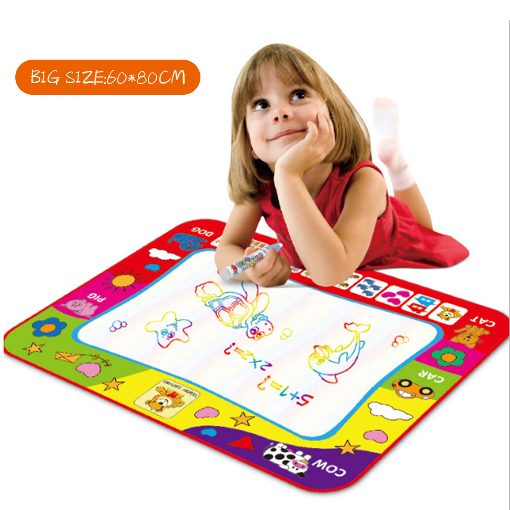 60*80CM Educational Toy Kids Crafts Magic Water Drawing Mat Doodle Water Pen Drawing Board Coloring Water Painting Games