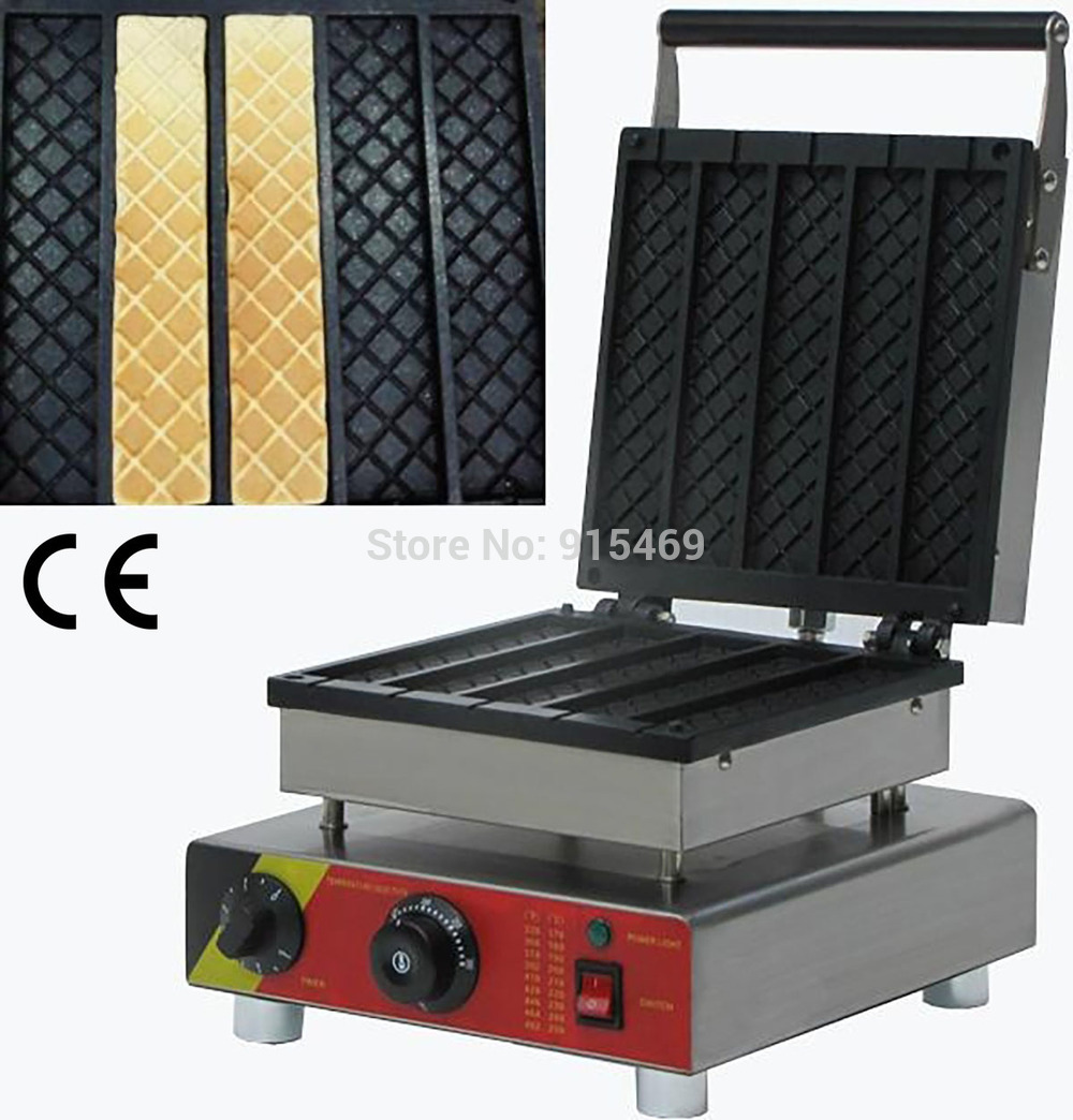 Free Shipping 110v 220v Electric Commercial 5pcs Rectangle Ice Cone Waffle Maker Iron Machine Baker edtid new high quality small commercial ice machine household ice machine tea milk shop