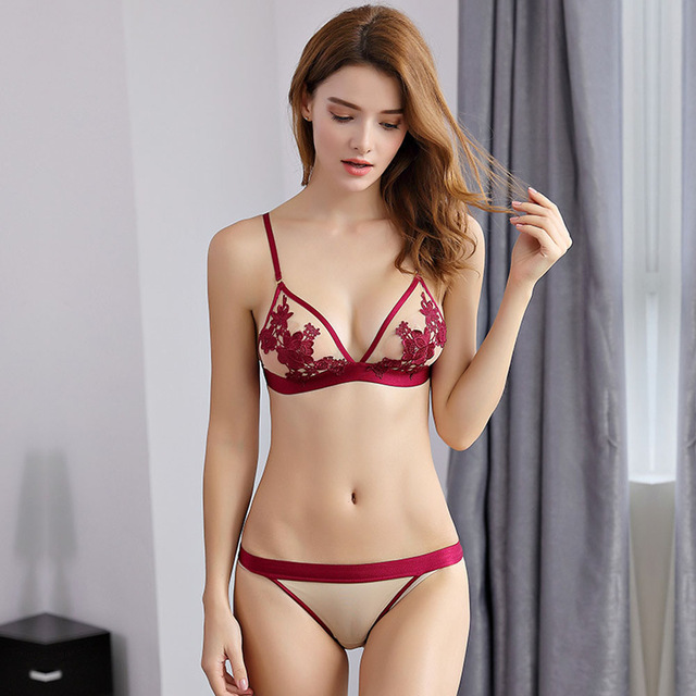 236243c7d1 Sexy Lace Bra Set Push Up Seamless Embroidery Bralette Elegant Lingerie  Ultra-Thin Triangle Cup Transparent Women Underwear Set