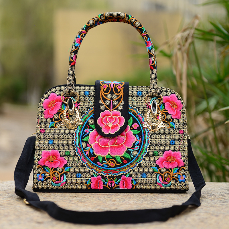 Chinese Folk Style Embroidered Ladies Handbag Shoulder Bag Canvas Embroidery Rose Azalea Crossbody Bags