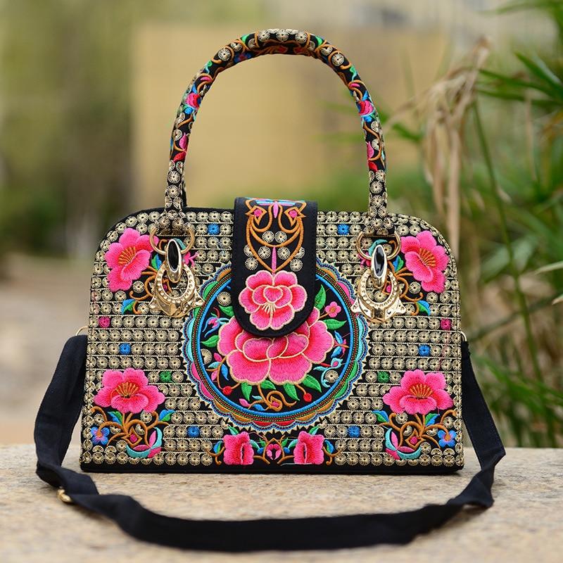 Chinese Folk Style Embroidered Ladies Handbag Shoulder Bag Canvas Embroidery Rose Azalea Crossbody Bags