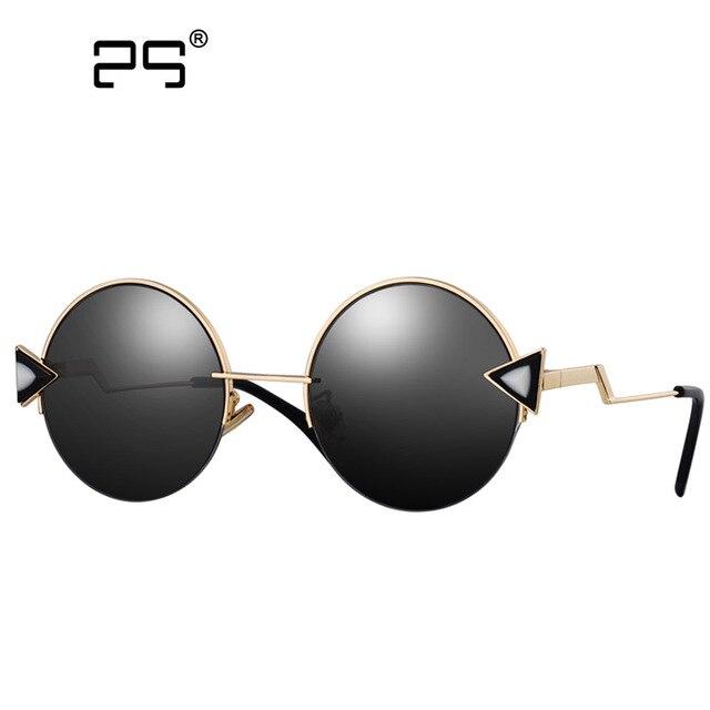 e161dca3a04c Colecao Ретро Треугольники Логотип Круглый Солнцезащитные очки для женщин  Для женщин Новинка 2017 года зеркальные точки