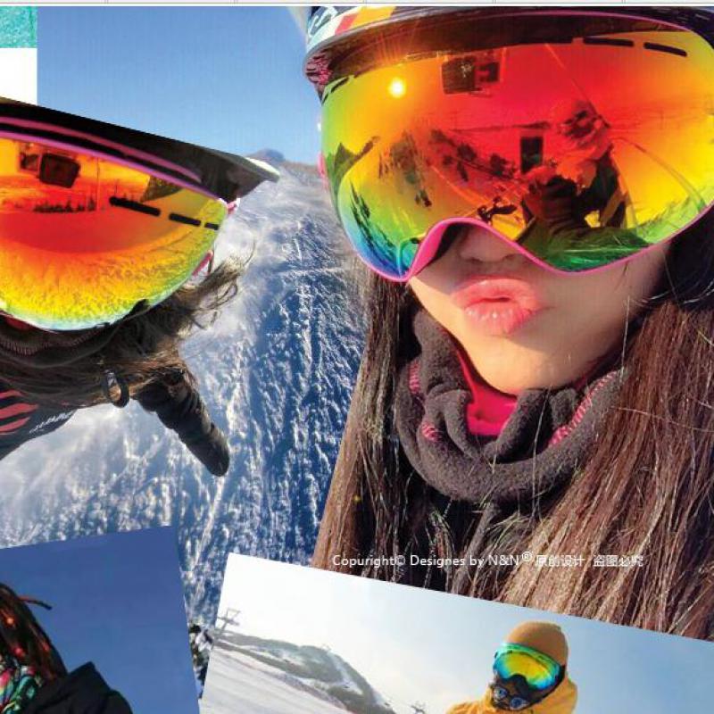 Nandn lunettes de ski à double lentille anti-brouillard grand sphérique professionnel lunettes unisexe multicolore snowboard lunettes ng3/ng2