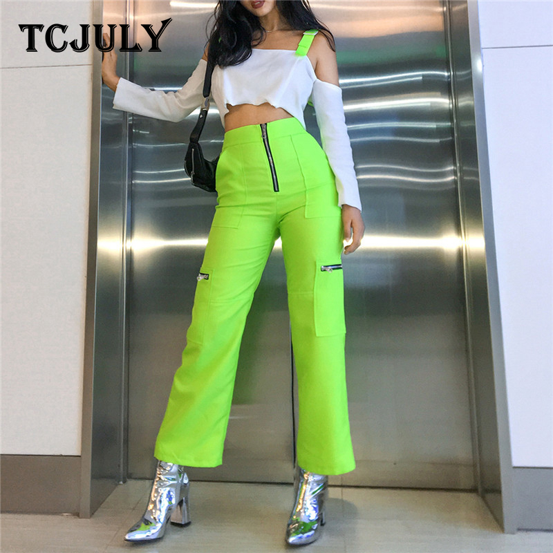 TCJULY New Design Neon Green   Wide     Leg     Pants   Pockets Fake Zippers High Waist Trousers Spring Autumn Streetwear Casual   Pants   Woman