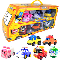 6pcs/set Original Box Robocar Poli Korea Kids Toys Robot Transformation Anime Action Figure Toys For Children Playmobil Juguetes
