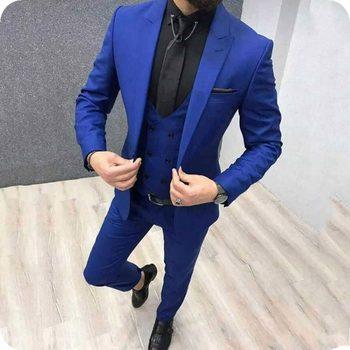 New Arrival One Button Blue Groom Tuxedos Peak Lapel Groomsmen Men Blazers 3 pieces Suits (Jacket+Pants+Vest+Tie) NO:304