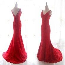 Real Photos Romantic Red Lae Bridal Gowns V-Neck Backless Floor Length Vestidos De Novia Casamento Sexy Mermaid Wedding Dresses