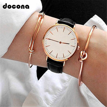 docona 2pcs/1set Gold Color Knot Bracelet Bohemian Geometric Metal Opening Adjustable Statement Jewelry 6134