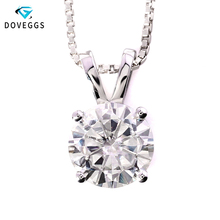 DovEggs 14K 585 White Gold 1ct carat 6.5mm F Color Round Cut Moissanite Diamond Pendant Necklace For Women With Silver Chain 1 carat round cut simple bezel set solitaire 14k yellow white rose gold black moissanites necklace fine jewelry necklace chain