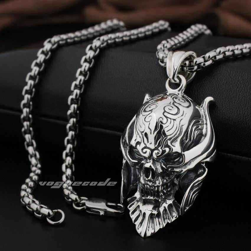LINSION Big king Vampire Demon Skull 925 Sterling Silver Mens Biker Rock Punk Pendant 8Q001 linsion 925 sterling silver wire pliers pendant mens biker rock punk skull wrench pendant 8a032 stainless steel necklace 24