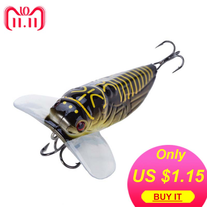 1PCS Fishing Lure Cicada Floating Lscas Artificial Bait 40mm 3.8g 55mm 8.5g Pesca Fish Popper Lure Topwater Stomach Insect cicada
