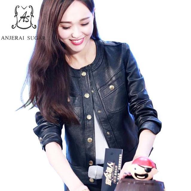 Plus Size sheepskin genuine Leather jacket women coat female black Single Breasted O-Neck Motorcycle cazadoras de cuero mujer