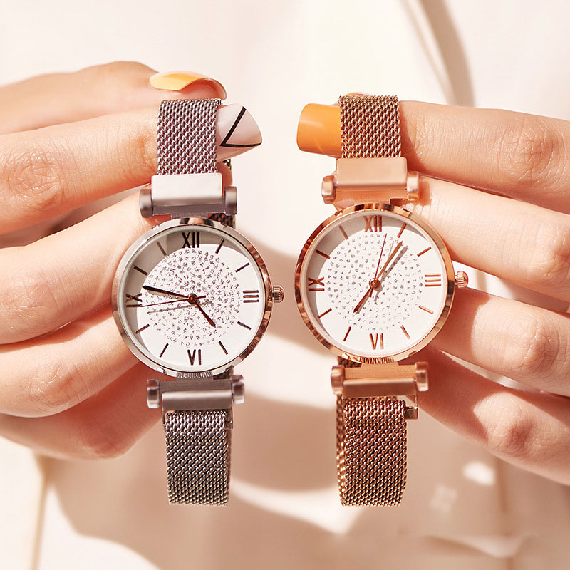 Luxury Band Women Watches Gypsophila Magnetic Fashion Diamond Wristwatches Female Rose Gold Casual Dress Reloj Mujer Lovers Gift