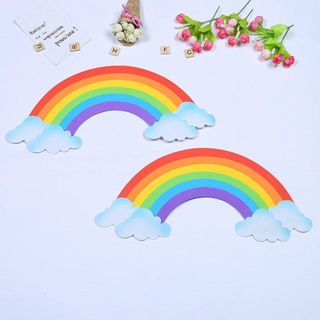 2ps 3D Rainbow Wall Sticker Sponge EVA Wallpaper DIY Removable School  Nursery Decal Home Kids Room