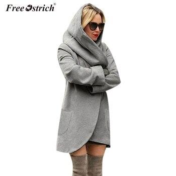 Libre de avestruz abrigo largo de lana mujer 2019 mujer bolsillos gruesa  con capucha chaqueta casual Abrigos Mujer Otoño Invierno de abrigo N30 a882a8ac2c7e