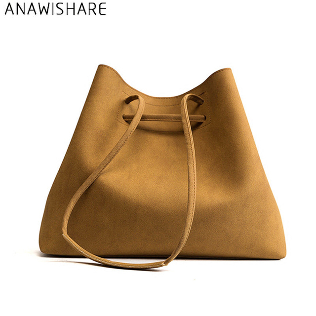 ANAWISHARE Women Leather Handbags Large Bucket Shoulder Bags Tote Bags  Crossbody Bags For Women Messenger Bags f5b62b0d3e