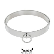 polished stainless steel slave collar lockable torque choker necklace fetish jewelry with bondage restraints set