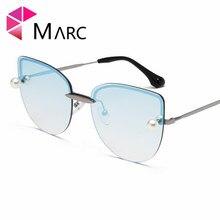 MARC New Women Cat Eye Sunglasses Ocean Gradient Semi-rimless Eyeglasses High Quality Oculos fashion Lady Eyewear Brand 1