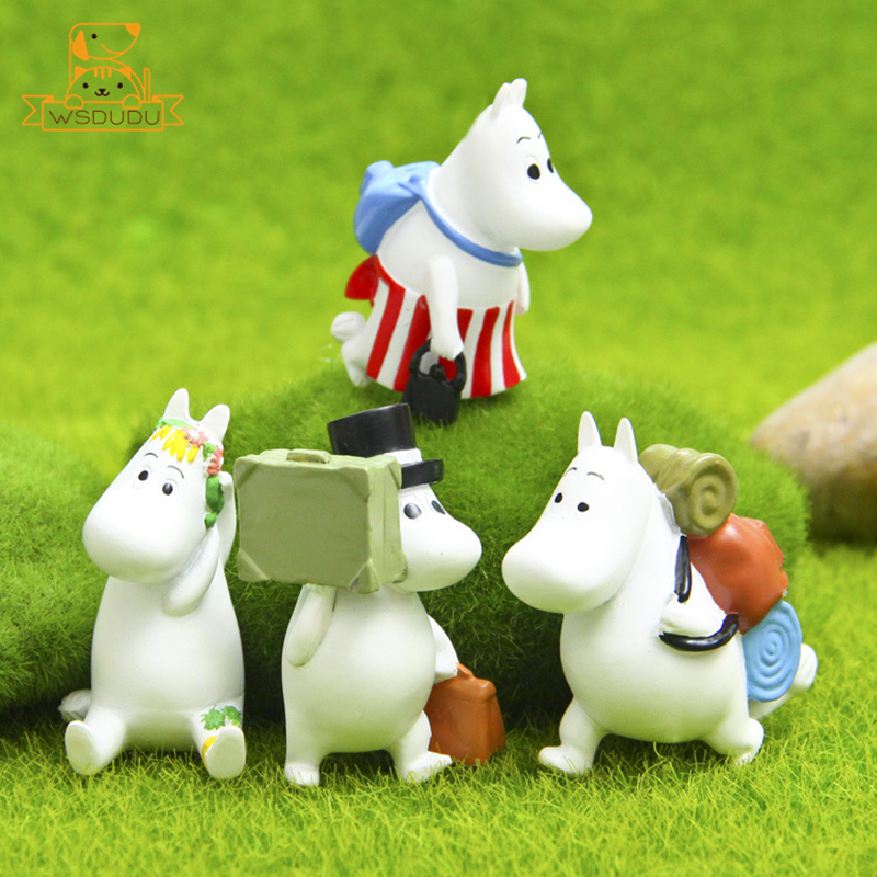 Cute Moomin Cartoon Action Toys Figures Hippos Hippopotamus Chubby Animals Figurines Kawaii Flower Bags Horse Dolls Decor Gifts