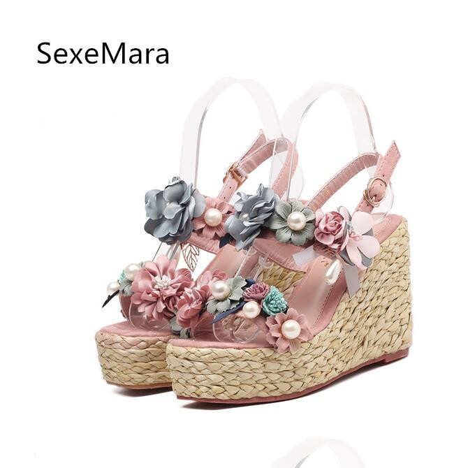 Fashion New 2017 Summer Cute Girl Beach Sandals Shoes Bohemian Wedges Heel Flowers Upper Lady Footwer Casual Women Shoes Cool xiaying smile summer new woman sandals casual fashion shoes wedges heel women pumps bling crystal sweet lady style women shoes
