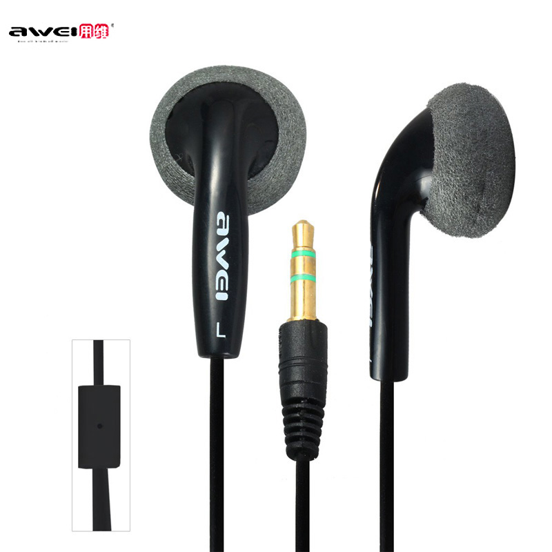 Original Awei ES10 Wired In-ear Earphones 1.2m Cable Super Bass Stereo Music Earphones for Mobile Phone Tablet PC