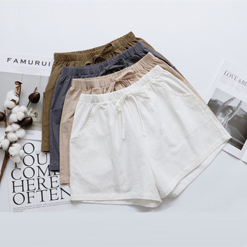 a9392e951c GUMPRUN 2019 nuevo estilo de moda de las mujeres pantalones cortos de verano  de cintura alta de algodón Lino pantalones cortos casuales de mujer ancho  de la ...