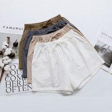 GUMPRUN Women High Waist Cotton Linen Shorts Summer New Trend Plus Size Pocket Biker Shorts Biker Thin section Hot Casual Shorts