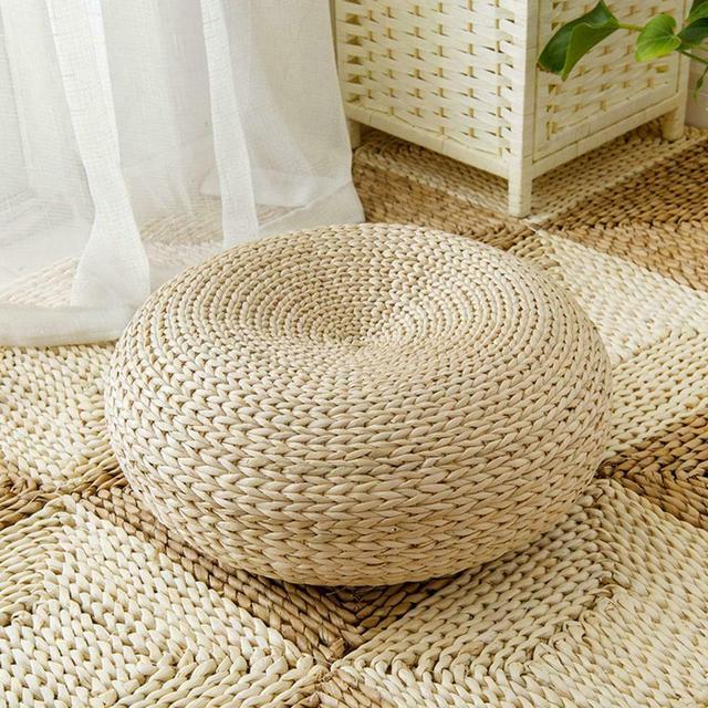 New Tatami Handmade Weave Natural Straw Round Thicken Window Chair Cushion Pad Round Sitting Mat Meditation Cushion Home Decor