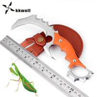 KKWOLF Top Karambit Hunting Fighting Knife CSGO G10 Handle Leather Sheath Portable Knife Survival Tactical Rescue