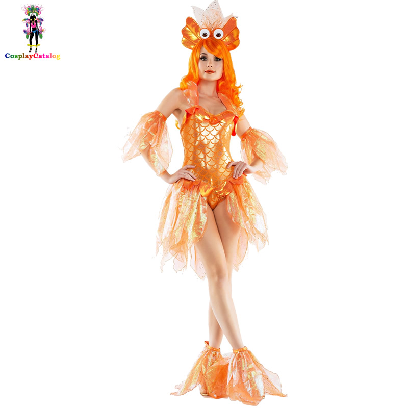 Gold Mermaid Costume For Adult Women,Halloween Goldfish Dresses Party Fancy Costumes Female Uniforms